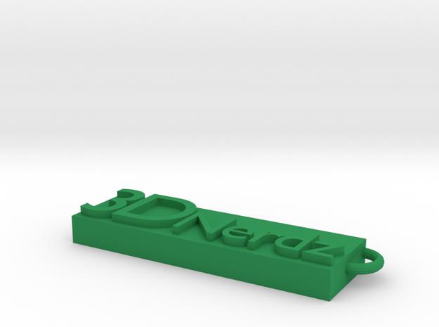 3DNerdz keychain in Green Processed Versatile Plastic