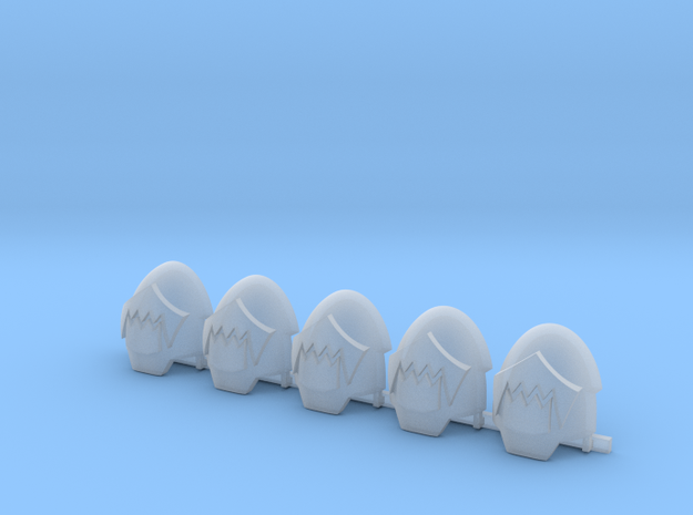Toothed Mouth Indo Terminator Shoulder Pads R x5 in Smooth Fine Detail Plastic