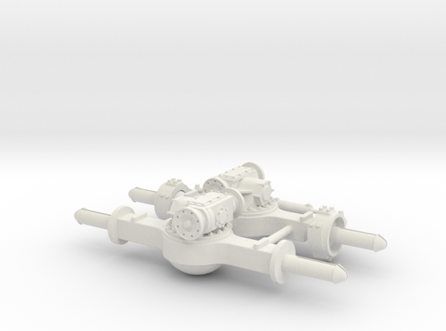 AXLE PAIR - ONE STEER ONE NON-STEER in White Natural Versatile Plastic