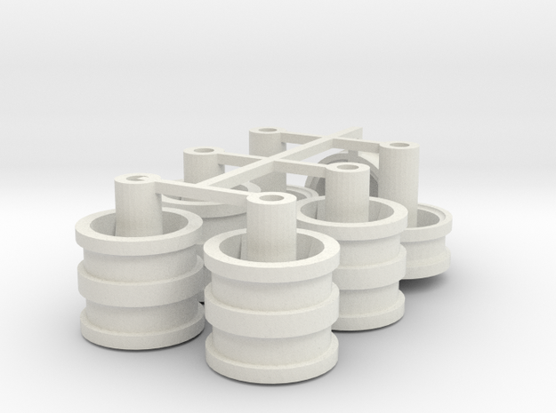 Velgen 4 driehoek  gaten, voor  Lion Toys 21x 5mm in White Natural Versatile Plastic