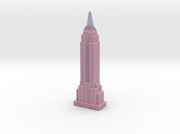 Empire State Buildling - Pink w Black Windows in Full Color Sandstone