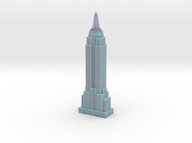 Empire State Building - Light Blue w Black windows in Full Color Sandstone
