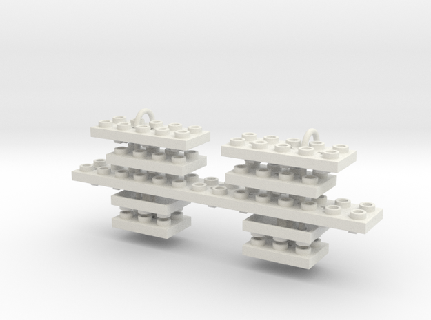 (0004) Set of Large Building Block Cherry MX Key C in White Natural Versatile Plastic