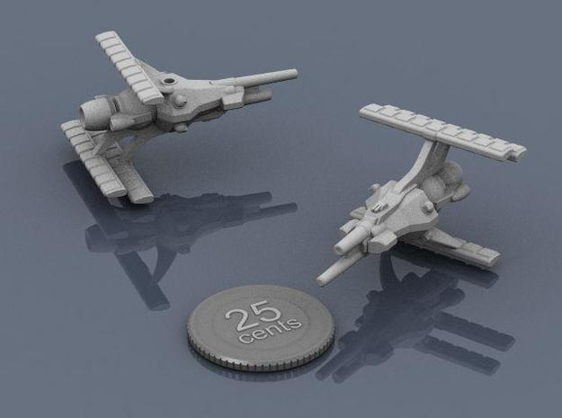 LCS Dartship 3d printed Renders of the model, plus a digital quarter for scale.
