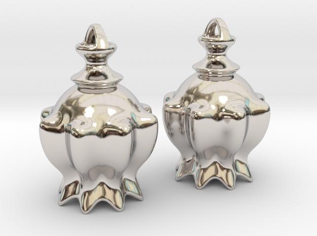 """Bellflower"" Earrings in Rhodium Plated Brass"