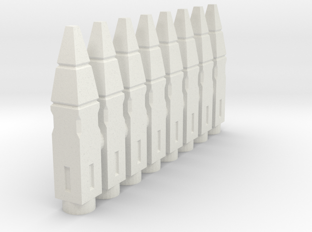 8x SQ Missiles for ACSWS-1D in White Natural Versatile Plastic