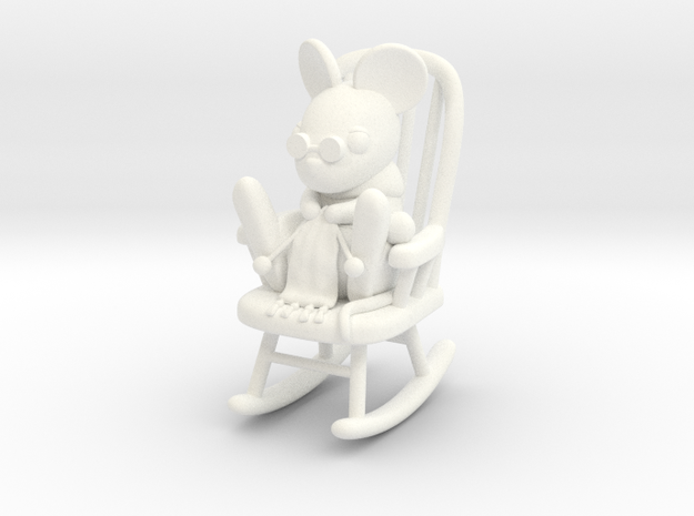 Mouse in Rocking Chair in White Processed Versatile Plastic