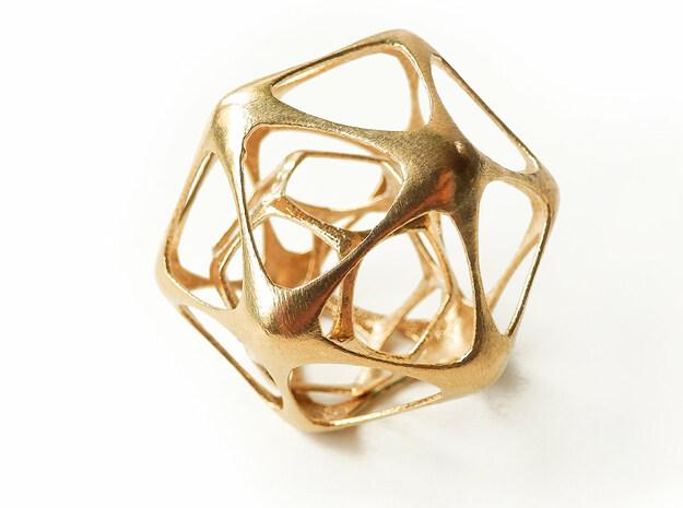Icosahedron-dodecahedron Pendant in Natural Brass (Interlocking Parts)