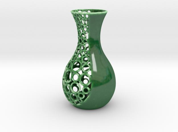 small open patterned vase 1 in Gloss Oribe Green Porcelain