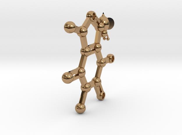 caffeine - keychain in Polished Brass