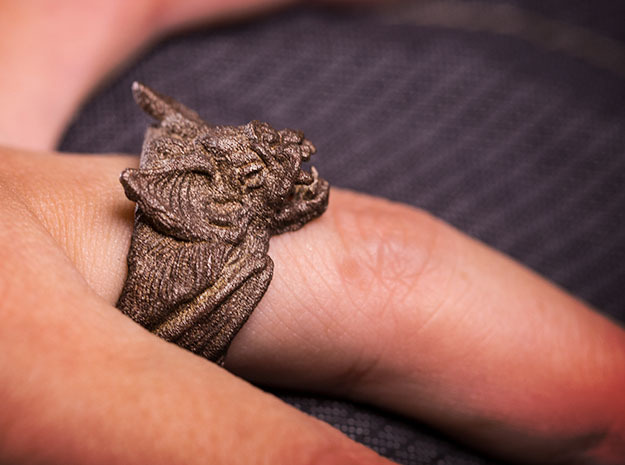 Vampire Bat Ring in Polished Bronzed Silver Steel: 9 / 59