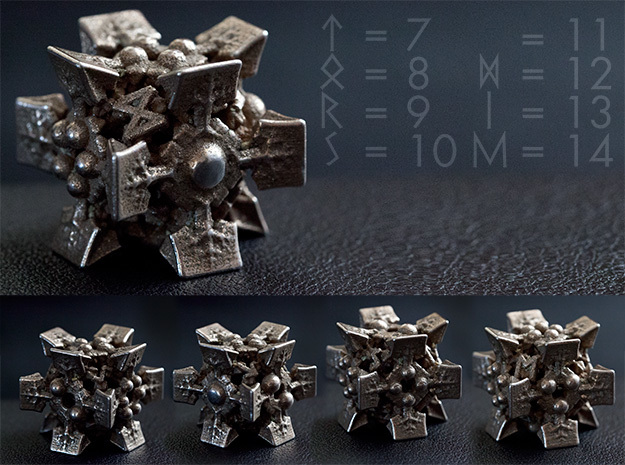 THOR's DIE D6+8 -the legs of Odens horse Sleipner in Polished Bronzed Silver Steel