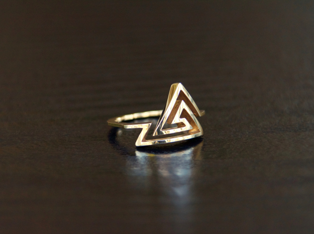 Triangular Spiral Ring, Size 7 in Polished Bronze