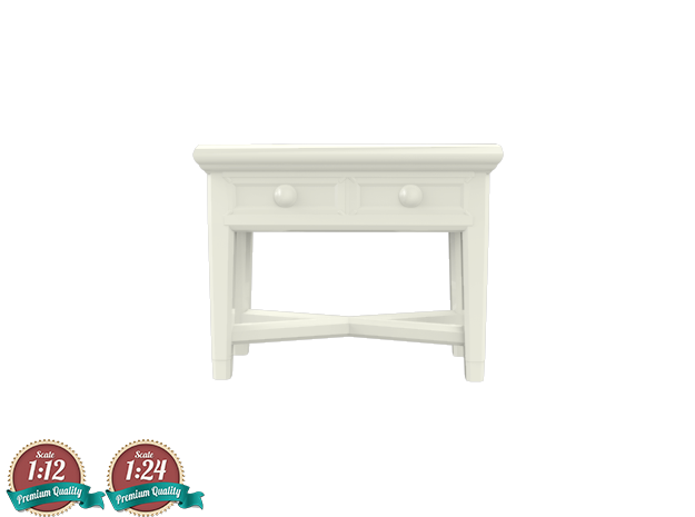 Miniature Console Table 2 Drawers - Dantone Home in White Strong & Flexible: 1:24