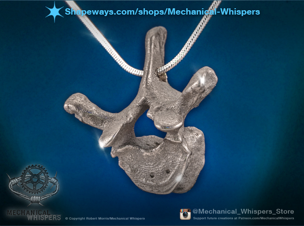 Human Thoracic Vertebrae Pendant in Polished Nickel Steel