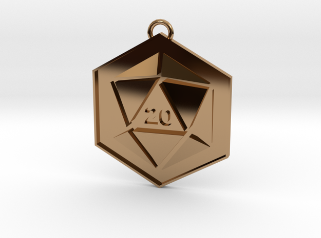D20 Keychain or Necklace Pendant in Polished Brass