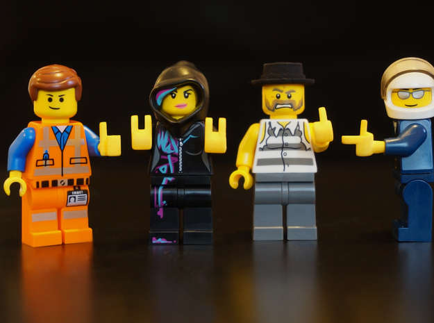Custom lego scaled Hands set L in Yellow Processed Versatile Plastic