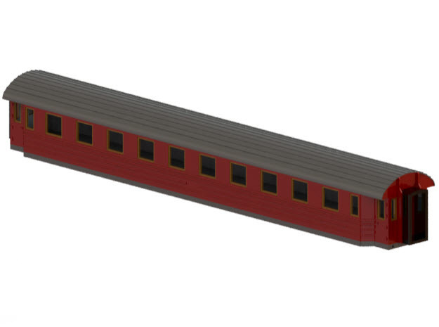 Co8f - Swedish passenger wagon in Smooth Fine Detail Plastic