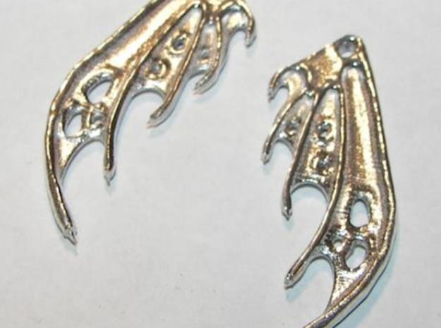 Dragon Wing Earrings in Polished Silver