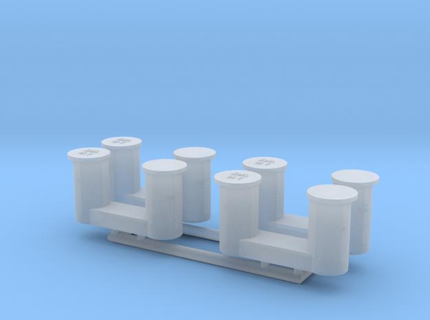 4 bollards small_4 Poller klein 1:75 in Smooth Fine Detail Plastic