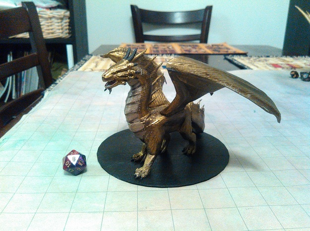 Adult Bronze Dragon in Green Strong & Flexible Polished