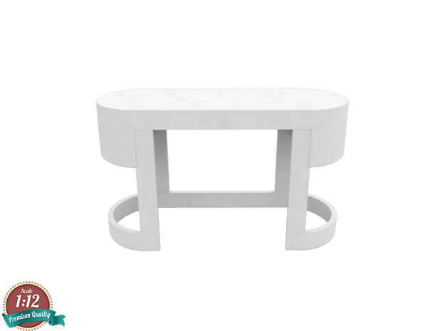 Miniature Turri Dressing Table - Turri in White Natural Versatile Plastic: 1:12
