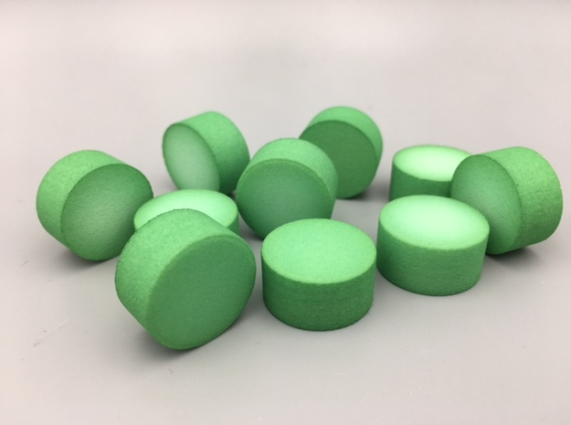 Cylindrical Coin Set - Ratio 1 : 2 in Green Processed Versatile Plastic