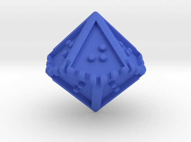 Braille Ten-sided Die d10 in Blue Strong & Flexible Polished