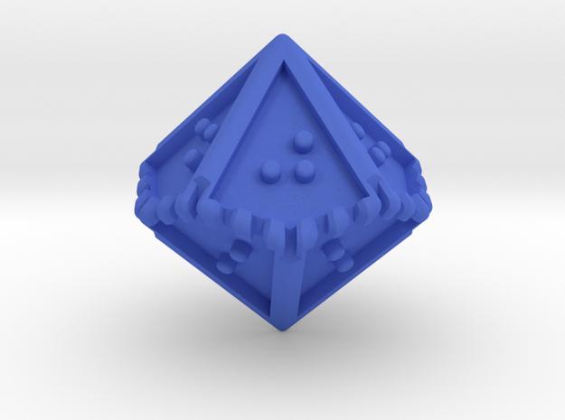 Braille Ten-sided Die d10 in Blue Processed Versatile Plastic