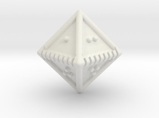 Braille Eight-sided Die d8 in White Natural Versatile Plastic