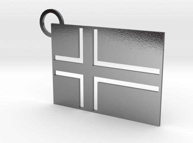 Norwegian Flag Keychain in Polished Silver
