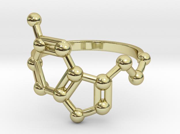 Serotonin (Happiness) Molecule Ring in 18k Gold Plated Brass: 6.5 / 52.75