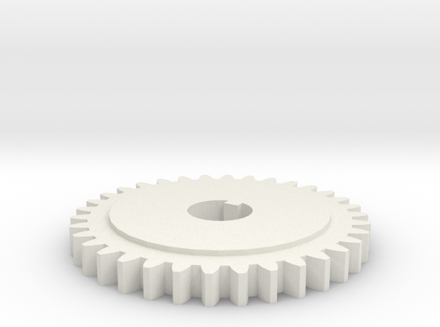 Gear 20 degree 34 teeth 15.5mm bore with keyway in in White Natural Versatile Plastic