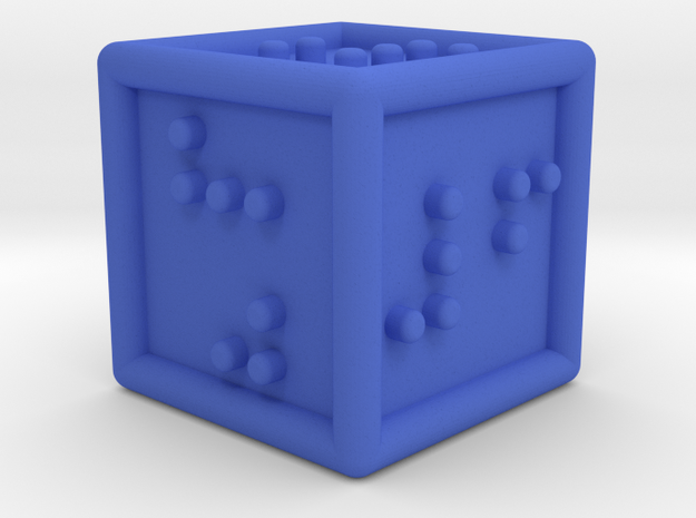 Braille Six-sided Die d6 in Blue Strong & Flexible Polished
