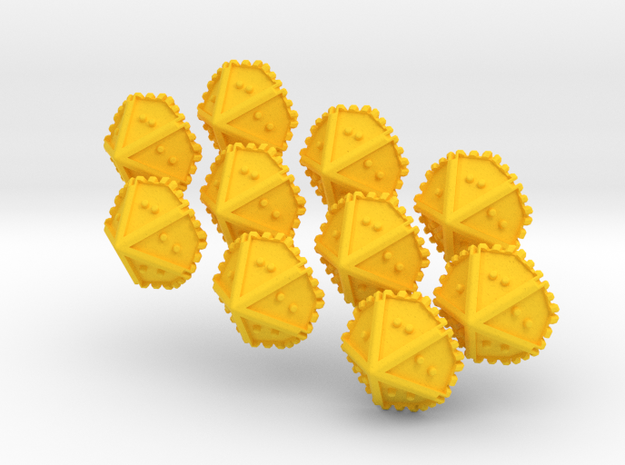 Set of 10 Braille Ten-sided Dice in Yellow Processed Versatile Plastic