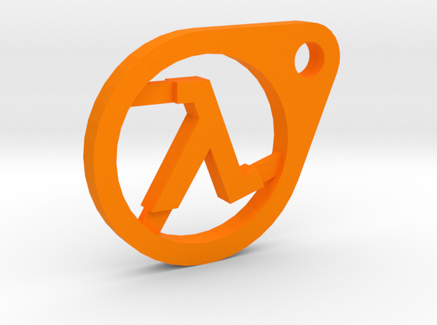 Half-Life Lambda Keychain in Orange Strong & Flexible Polished
