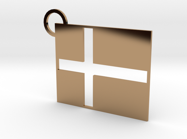 Danish Flag Keychain in Polished Brass