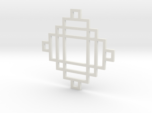 Grid 2 - Pendant in White Natural Versatile Plastic