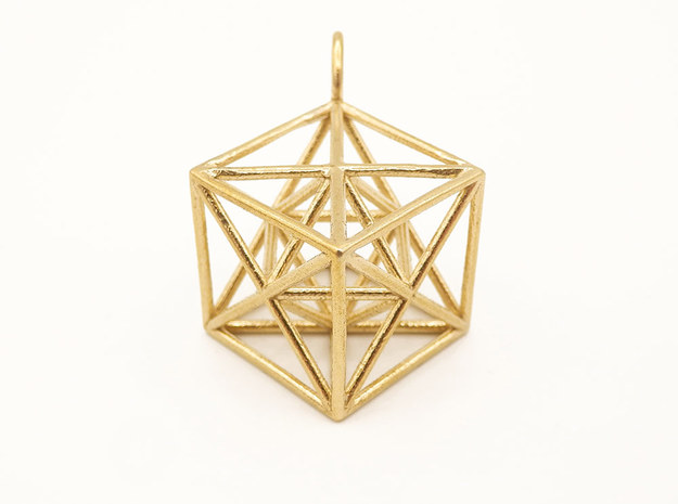 Metatron's Cube Hanger in Natural Brass: Small