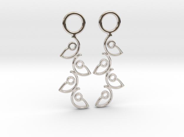 """Climbing"" Earrings  in Rhodium Plated Brass"