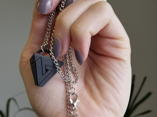 Penrose Triangle Pyramid Pendant in Matte Black Steel