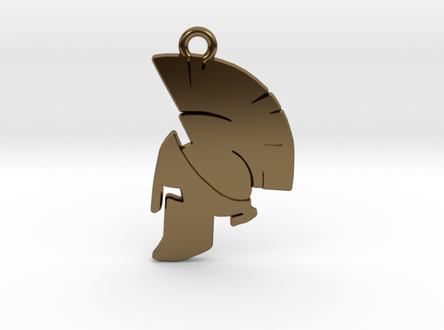 Spartan Helmet Pendant/Keychain in Polished Bronze