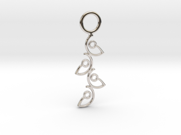 """Climbing"" Pendant in Rhodium Plated Brass"