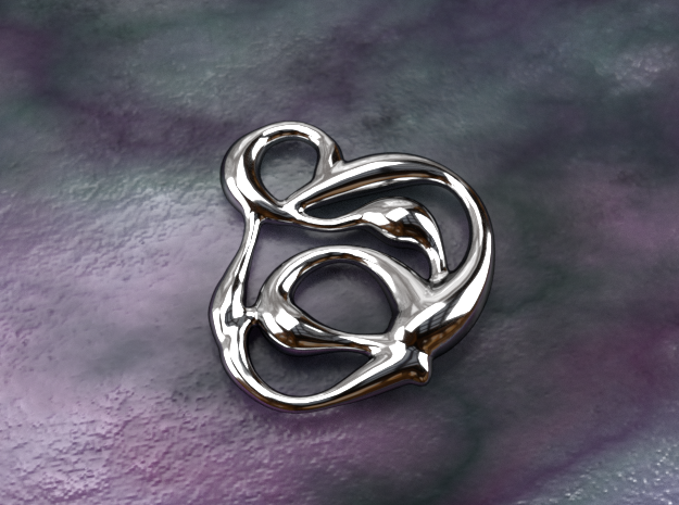 swirl pedant in Polished Silver