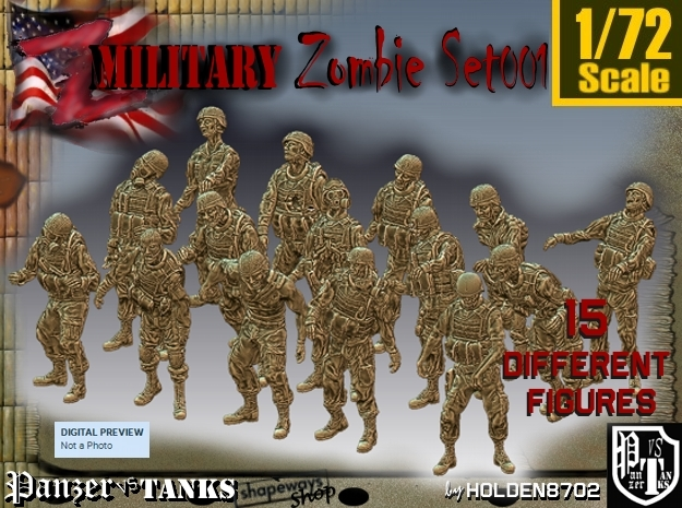 1/72 Army Zombies Set001 in Frosted Ultra Detail