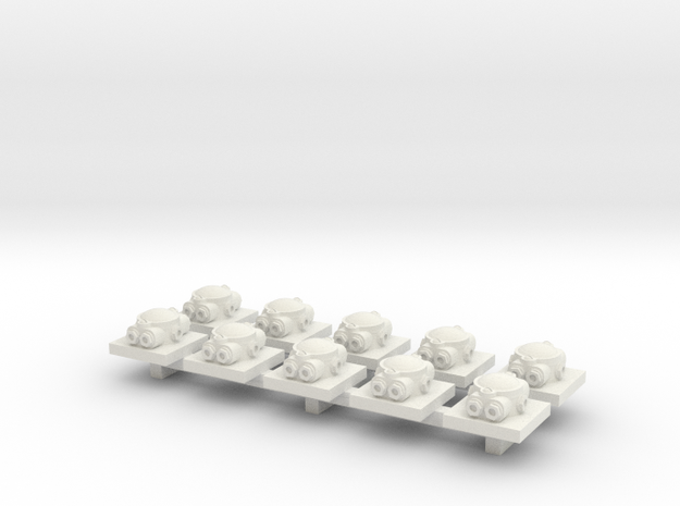 Junction box on base 1:35 , 10 pieces in White Natural Versatile Plastic