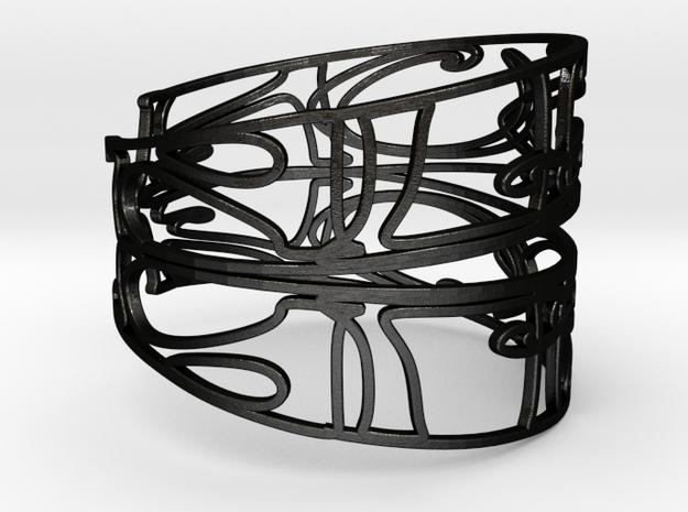Personalised Mirrored Name Bracelet (001) in Matte Black Steel