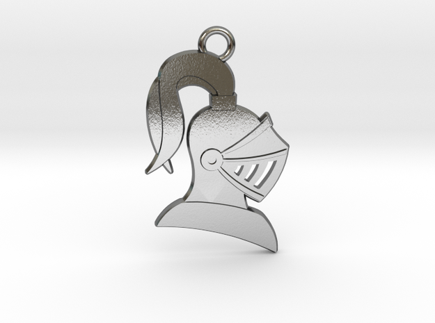 Knight Helmet Pendant in Polished Silver