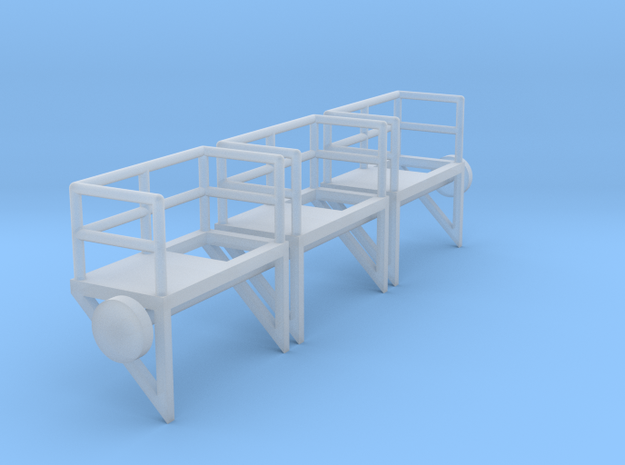 N Scale Cage Ladder Platform Left 3pc in Smooth Fine Detail Plastic