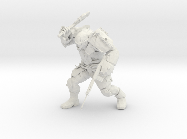 Mutant Brute with wrench and rifle  in White Natural Versatile Plastic